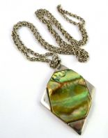Vintage Large Abalone Shell Pendant And Necklace By Exquisite.